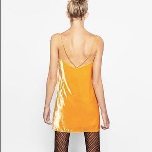 Yellow / Orange Velvet Strappy Zara Slip Dress